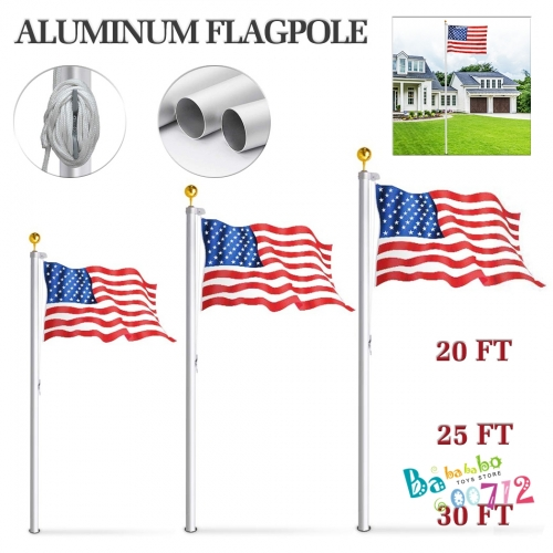 20 25 30FT Flag Pole Telescopic Aluminum Flagpole Kit with US Flag in USA